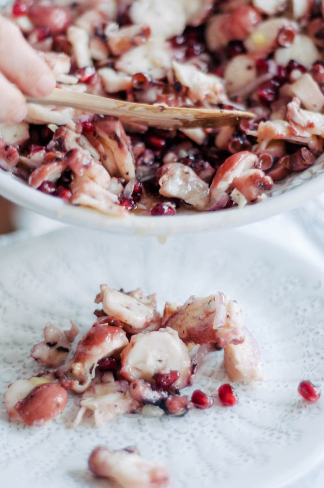 octopus salad with pomegranate