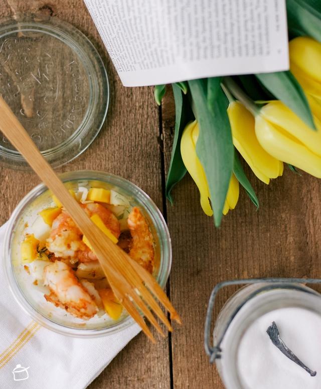 insalata di finocchi mango e code di gambero