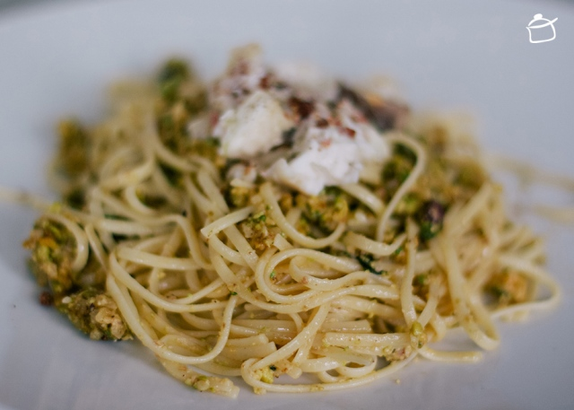 pasta with pistachios pesto and monkfish
