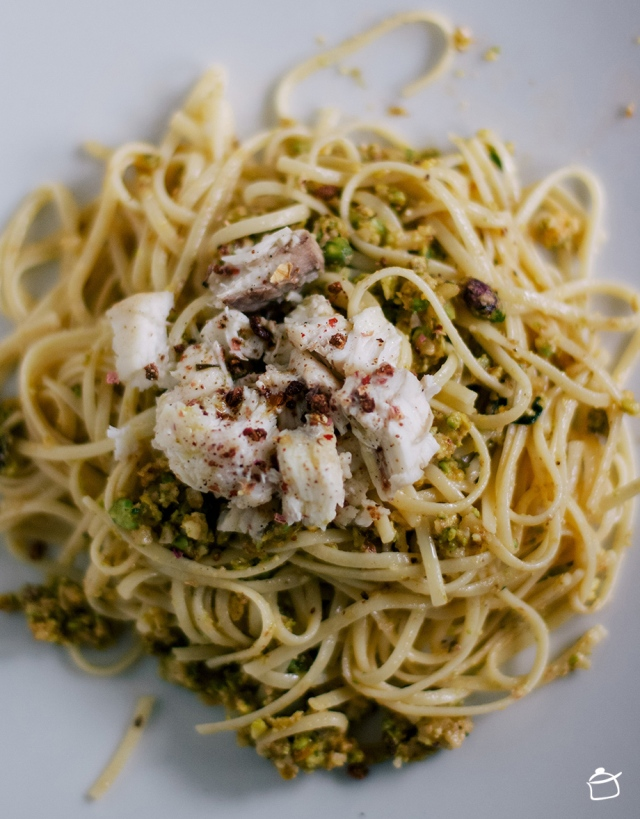 linguine with pistachios pesto and monkifsh
