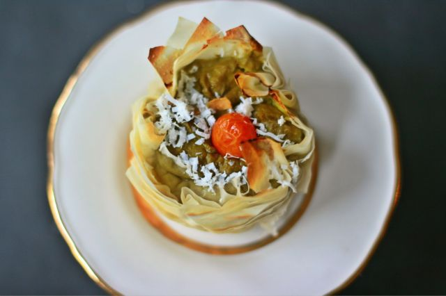phyllo nest with asparagus cream and ricotta