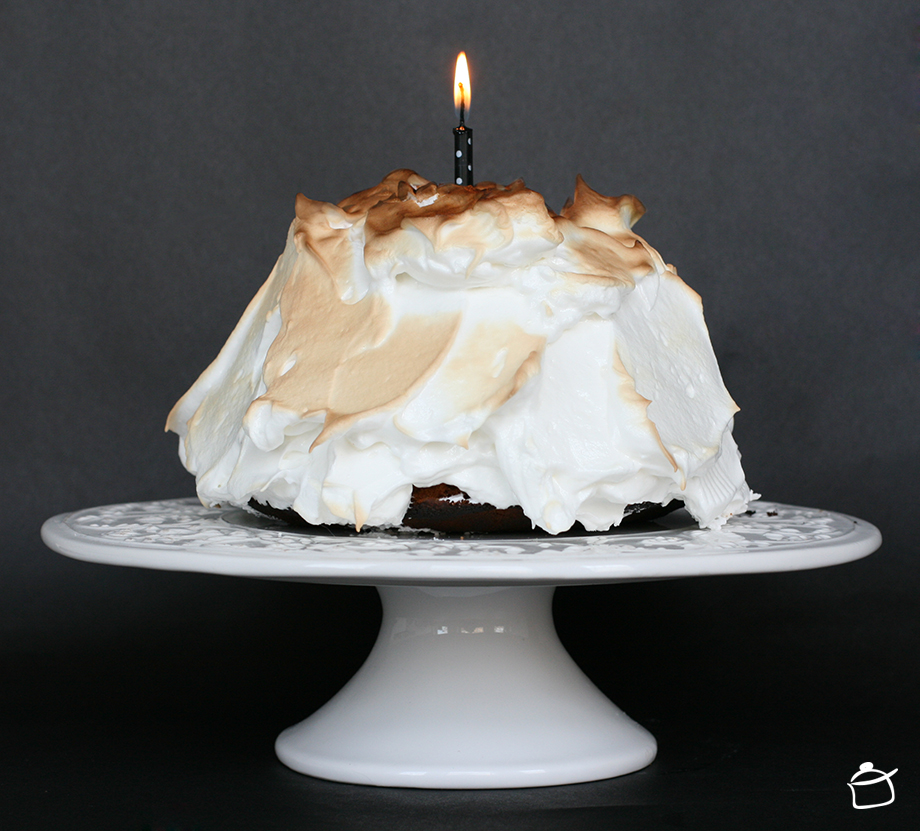 Birthday Cake. Lemon Cake With Ice Cream And Meringues