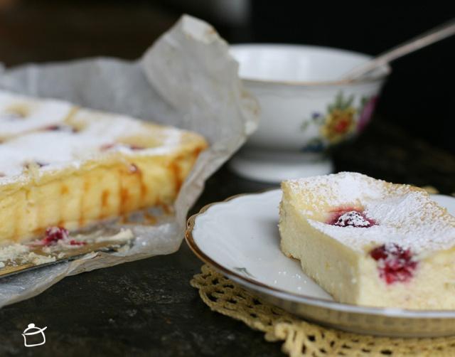 Cheesecake de chocolat blanc et framboises