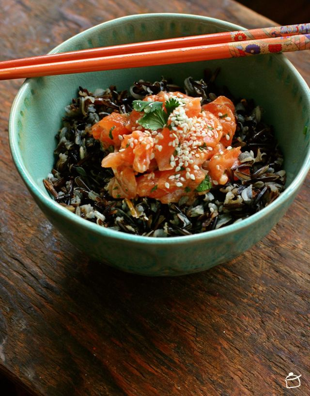 salmon tartare with wild black rice