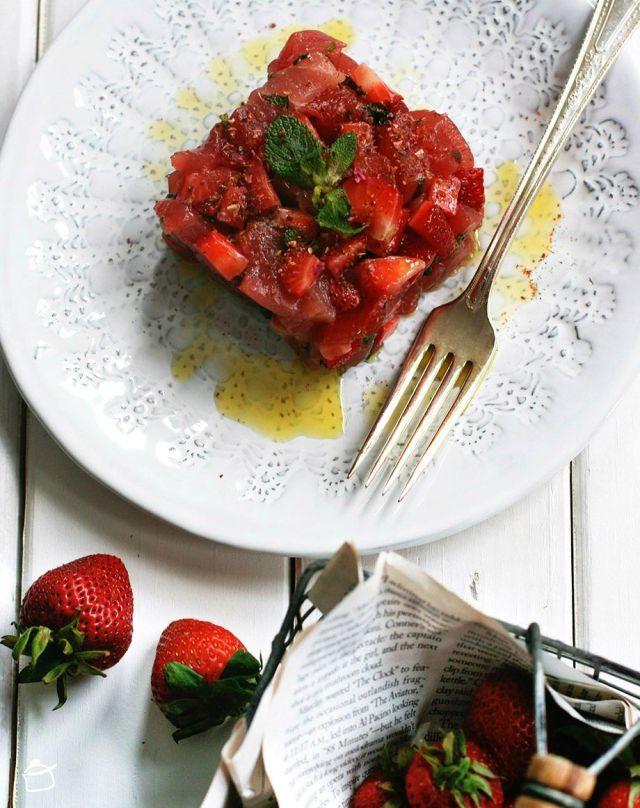 tartare de thon avec fraises
