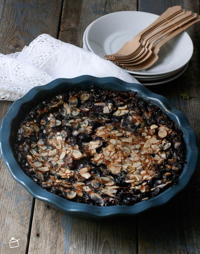 blueberries  with almond milk clafoutis