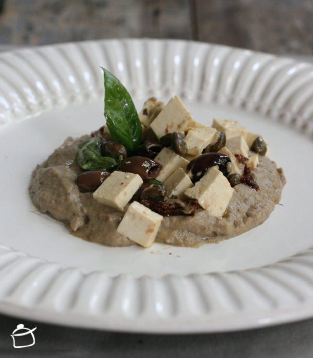 humus d'aubergines et salade de tofu
