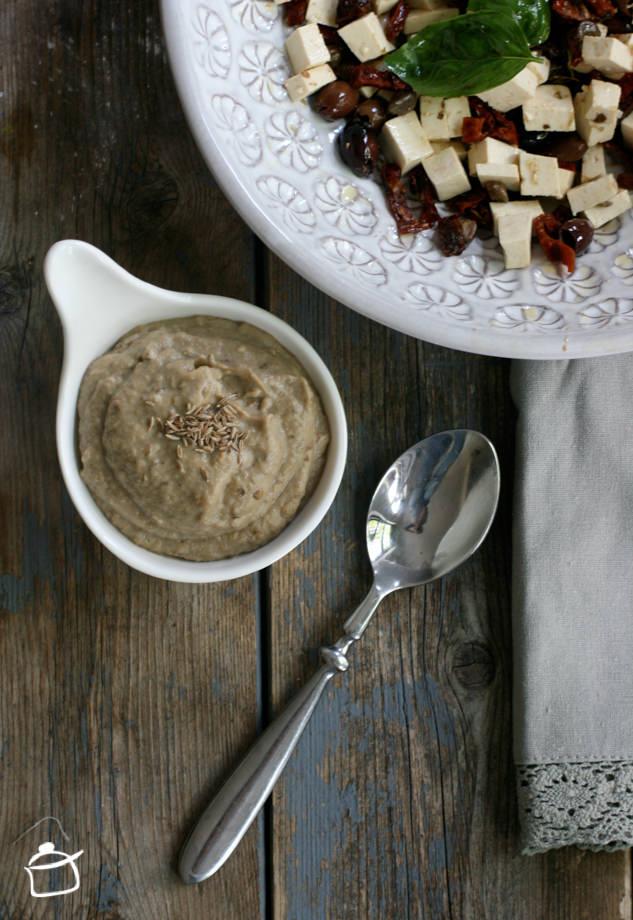 eggplant humus with tofu salad