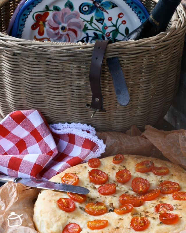 Focaccia à la ricotta et tomates