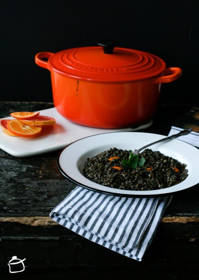 lenticchie beluga al té nero e arancia